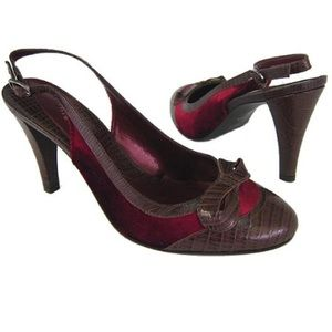 Gianni Bini Lizzie Ruby Velvet/Hershey Leather 9.5